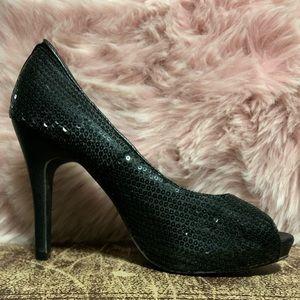 "🖤 Bizz Girl black sequin 4"" peep toe sparkly heal"